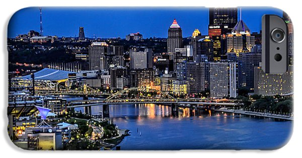 River View iPhone Cases - Pittsburgh at Night iPhone Case by Jim Archer