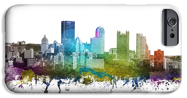 Colour Drawings iPhone Cases - Pittsburgh cityscape 01 iPhone Case by Aged Pixel