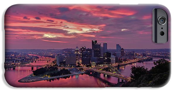 Clemente iPhone Cases - Pittsburgh Dawn iPhone Case by Jennifer Grover