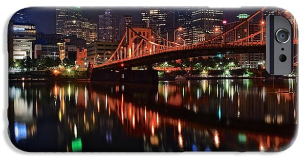Roberto iPhone Cases - Pittsburgh Lights iPhone Case by Frozen in Time Fine Art Photography