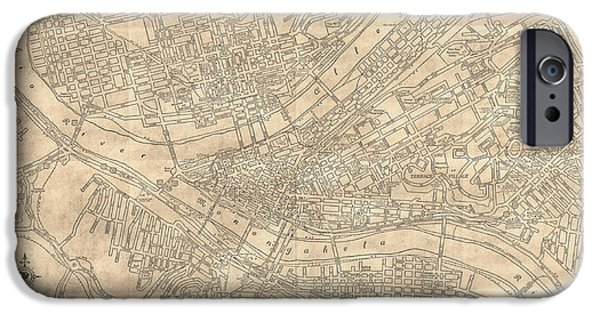 Old Digital Art iPhone Cases - Pittsburgh Pennsylvania Antique Vintage City Map iPhone Case by ELITE IMAGE photography By Chad McDermott