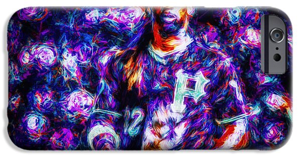 Jab iPhone Cases - Pittsburgh Pirates Andrew McCutchen Digitally Painted Purple MIX iPhone Case by David Haskett