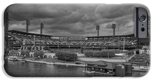 Marine iPhone Cases - Pittsburgh Pirates PNC Park BW A iPhone Case by David Haskett
