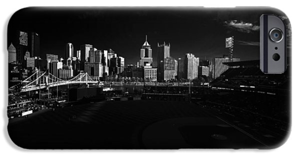 Marine iPhone Cases - Pittsburgh Skyline PNC Park Pirates iPhone Case by David Haskett