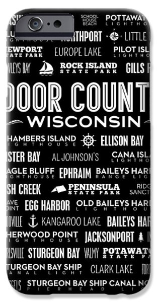 Kangaroo Digital iPhone Cases - Places of Door County on Black iPhone Case by Christopher Arndt