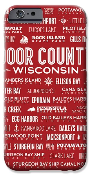 Kangaroo Digital iPhone Cases - Places of Door County on Red iPhone Case by Christopher Arndt