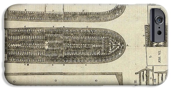 Plans iPhone Cases - Plan of Brooks Slave Ship iPhone Case by American School