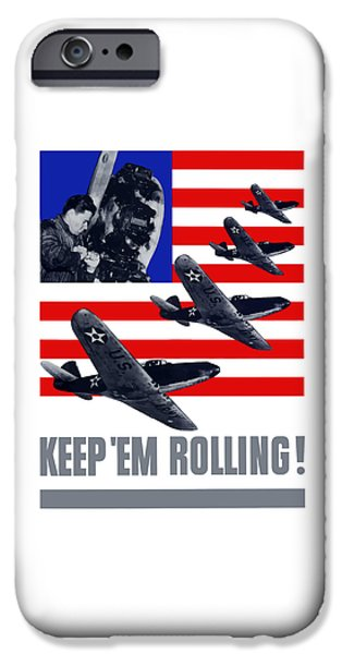 Fighter iPhone Cases - Planes -- Keep Em Rolling iPhone Case by War Is Hell Store