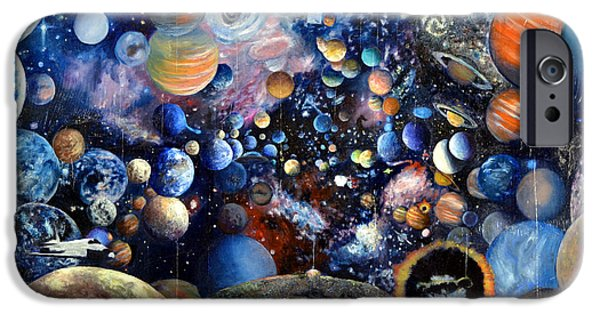 Jet Star iPhone Cases - Planet Collage iPhone Case by Walter James Artist