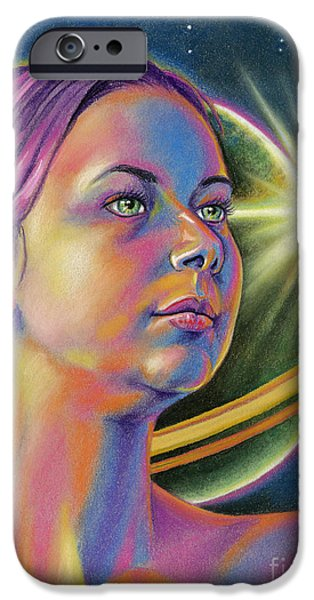 Science Fiction Pastels iPhone Cases - Planetary Princess iPhone Case by Adesina Sanchez
