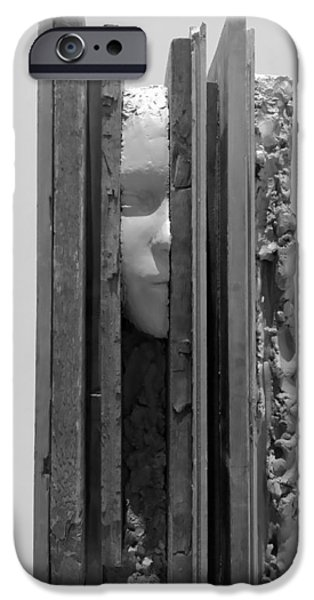 Statue Portrait Sculptures iPhone Cases - PLANK FACE VERTICAL B W  a k a HERES JOHNNY iPhone Case by Rob Hans
