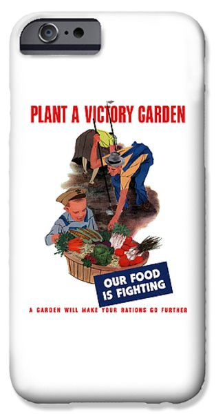 World Wars iPhone Cases - Plant A Victory Garden  iPhone Case by War Is Hell Store