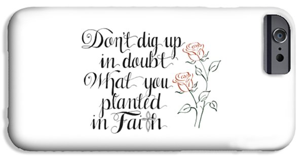 Religious Drawings iPhone Cases - Planted in Faith iPhone Case by Audra Dahl