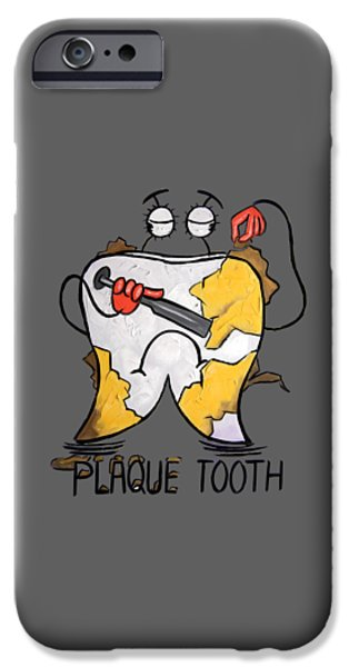 Shirt Digital iPhone Cases - Plaque Tooth T-shirt iPhone Case by Anthony Falbo