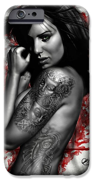 Girl iPhone Cases - Plata o Plomo iPhone Case by Pete Tapang