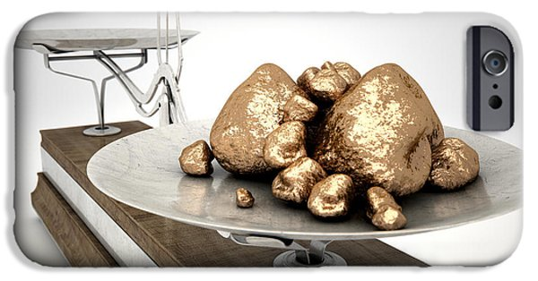 Mounds Digital iPhone Cases - Platinum NUggets iPhone Case by Allan Swart