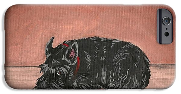 Scottish Terrier Art iPhone Cases - Play With Me iPhone Case by Margaryta Yermolayeva