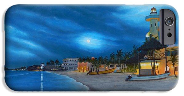 Recently Sold -  - Night Angel iPhone Cases - Playa de noche iPhone Case by Angel Ortiz