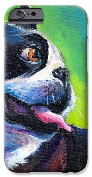 Playful Boston Terrier iPhone Case by Svetlana Novikova