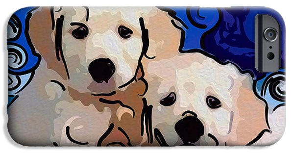 Puppies Digital Art iPhone Cases - Playful Puppies Abstract Dog Art by Omaste Witkowski iPhone Case by Omaste Witkowski