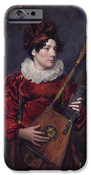 Lute Paintings iPhone Cases - Playing A Harp Lute iPhone Case by Celestial Images