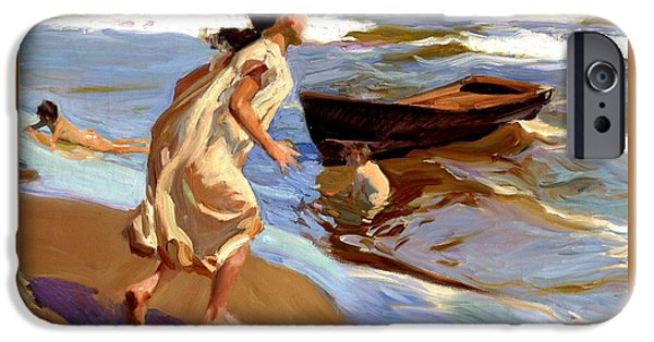 Recently Sold -  - Sailing iPhone Cases - Playing at the Beach iPhone Case by Joaquin Sorolla