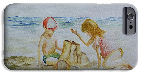 Sand Castles iPhone Cases - Playing In The Beach iPhone Case by Jorge Rueda