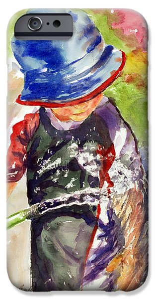 Young Paintings iPhone Cases - Playing in the Hose iPhone Case by Shirley Sykes Bracken