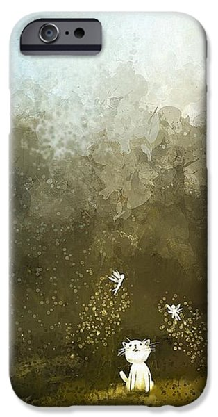 Gray Hair iPhone Cases - Playing With Fairy iPhone Case by Ekkawat Ritnetikul