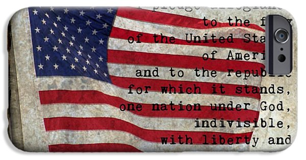 Flag iPhone Cases - Pledge Of Allegiance iPhone Case by Roxanne Jones
