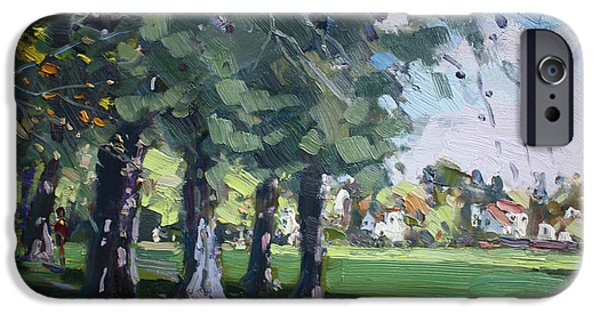 Village iPhone Cases - Plein Air at Jayne Park in Cayuga Island  iPhone Case by Ylli Haruni