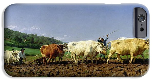 Pulling Paintings iPhone Cases - Ploughing in Nivernais iPhone Case by Rosa Bonheur