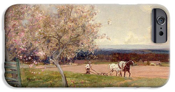 Pulling Paintings iPhone Cases - Ploughing iPhone Case by Sir Alfred East