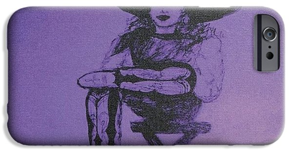 Plum Drawings iPhone Cases - Plum Cowgirl iPhone Case by Susan Gahr
