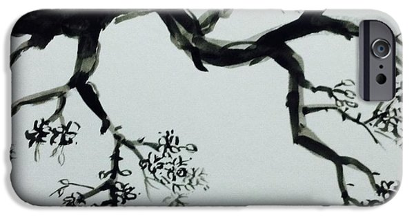 Plum Drawings iPhone Cases - Plum tree iPhone Case by Hae Kim