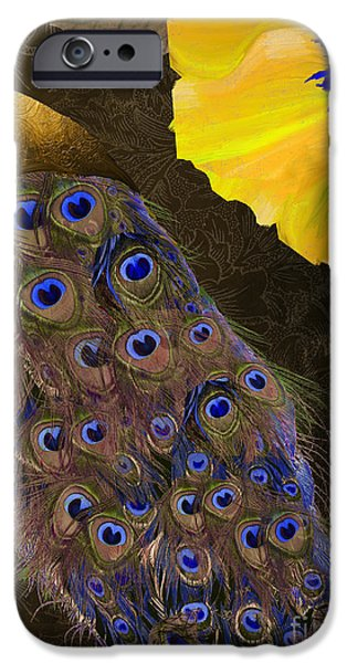 Peafowl iPhone Cases - Plumage II iPhone Case by Mindy Sommers