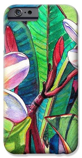 Plumeria Garden iPhone Case by Marionette Taboniar