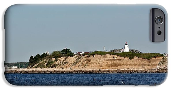 Lighthouse Pyrography iPhone Cases - Plymouth Bluffs iPhone Case by Calvin Nelson