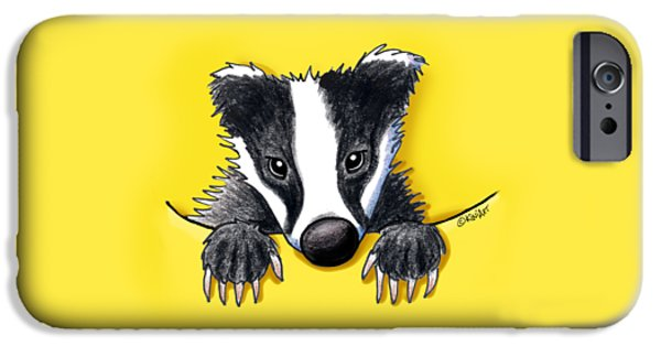 Kim Drawings iPhone Cases - Pocket Badger iPhone Case by Kim Niles