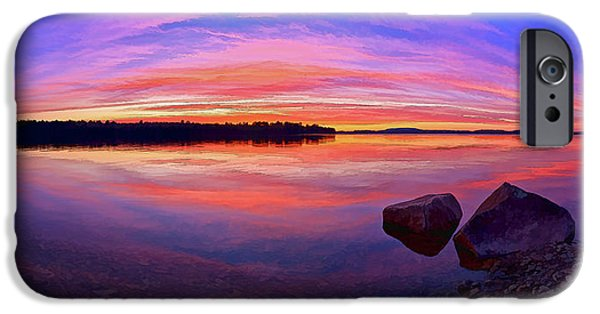 Downeast iPhone Cases - Pocomoonshine Sunset 2 Panorama iPhone Case by Bill Caldwell -        ABeautifulSky Photography