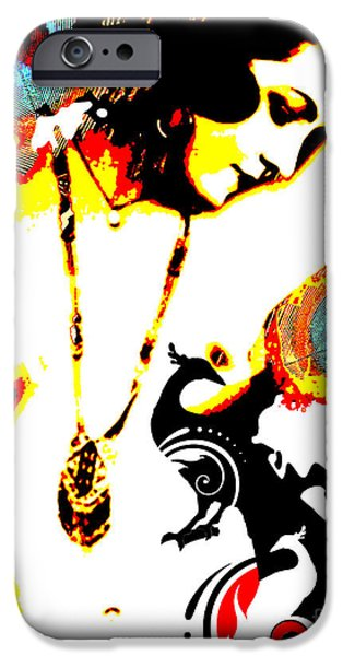 Modern Abstract Mixed Media iPhone Cases - Poetic Peacock iPhone Case by Chris Andruskiewicz