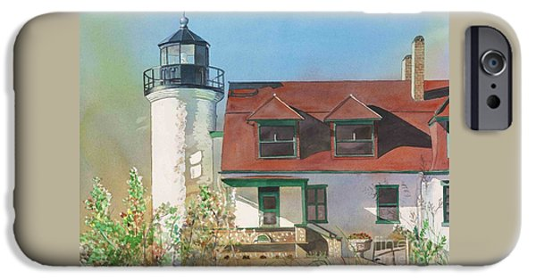 Chicago Paintings iPhone Cases - Point Betsie Lighthouse iPhone Case by LeAnne Sowa