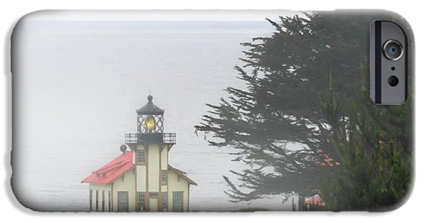 Coast Highway One iPhone Cases - Point Cabrillo Light Station CA - Lighthouse in damp costal fog iPhone Case by Christine Till
