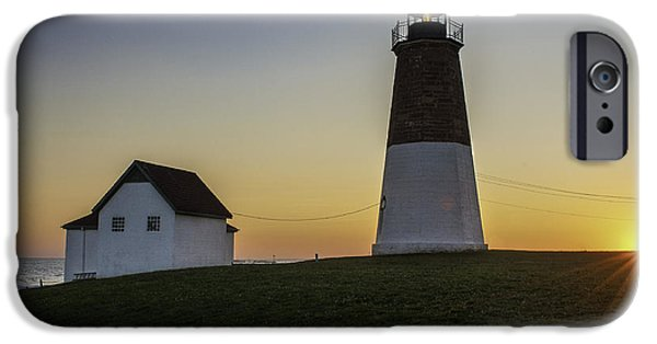 New England Lighthouse iPhone Cases - Point Judith Light at Sunset iPhone Case by Thomas Schoeller