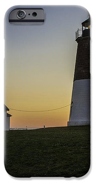 Point Judith Light at Sunset iPhone Case by Thomas Schoeller