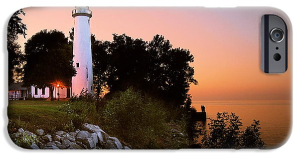 Lighthouse iPhone Cases - Pointe Aux Barques iPhone Case by Michael Peychich