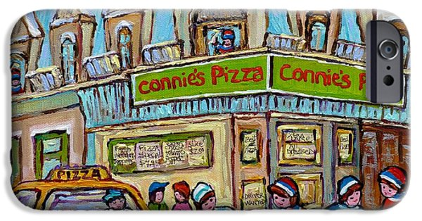 Hockey Paintings iPhone Cases - Pointe St Charles Paintings Hockey Game At Connies Pizza With Yellow Delivery Cab Montreal Art iPhone Case by Carole Spandau