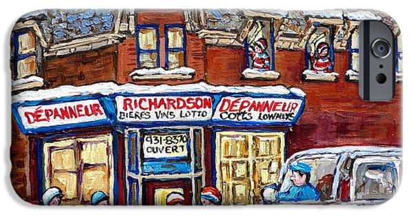 Snowy Day iPhone Cases - Pointe St Charles Paintings Hockey Game At Richardson Depanneur With Vintage Cotts Truck Montreal  iPhone Case by Carole Spandau