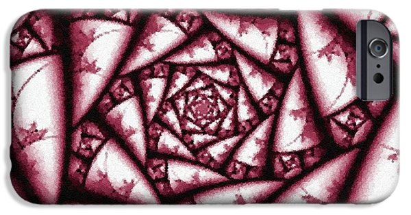 Abstract Digital Pastels iPhone Cases - Pointelist Rose Pattern In Maroon and White Catus 1 no. 1 H A iPhone Case by Gert J Rheeders