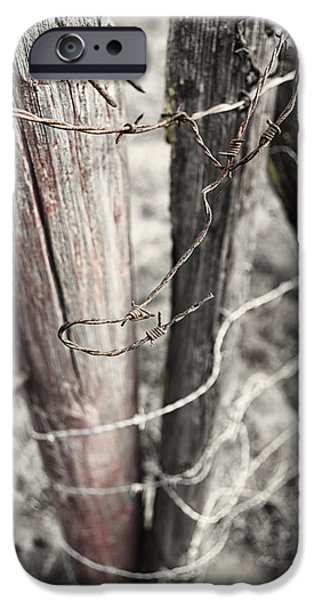 Barbed Wire Fences iPhone Cases - Points and Posts iPhone Case by Caitlyn  Grasso